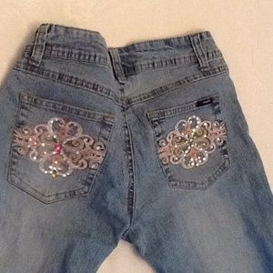 Angels light blue jeans small crystal pockets crop
